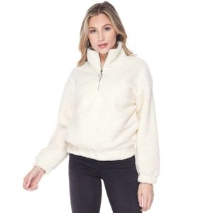 O-Ring Half-Zip Faux Sherpa Pullover Sweater